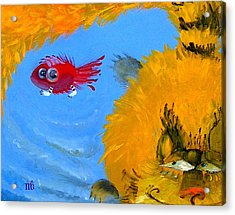 Swimming Of A Yellow Cat Acrylic Print