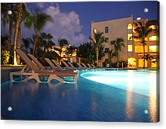 Swimming Pool At Night I Acrylic Print by Dave Dos Santos