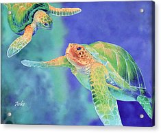 Swimming Seaturtles Acrylic Print by Anke Wheeler