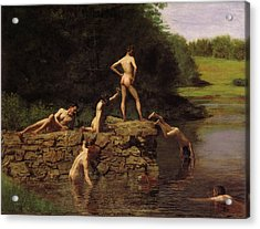 Swimming Acrylic Print by Thomas Eakins