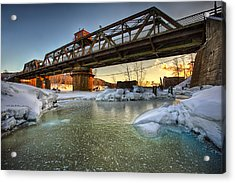 Swing Bridge Frozen River Acrylic Print