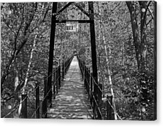 Swinging Bridge Patapsco State Park Bw Acrylic Print by Andy Lawless