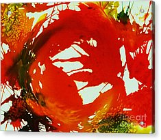 Swirling Crimson Abstract Acrylic Print by Ellen Levinson