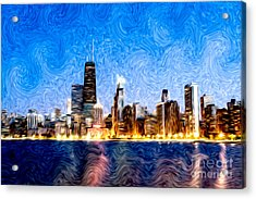 Swirly Chicago At Night Acrylic Print by Paul Velgos