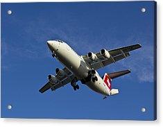 Swiss Air Bae 146 Acrylic Print by David Pyatt