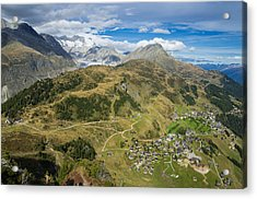 Swiss Alps Great View Towards Riederalp Aletsch Forest And Aletsch Glacier Acrylic Print by Matthias Hauser