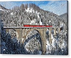 Swiss Bridge - Snow Painting Acrylic Print by Mike Rampino