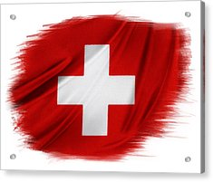 Swiss Flag Acrylic Print by Les Cunliffe