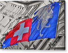 Swiss Flags  Acrylic Print by Mats Silvan