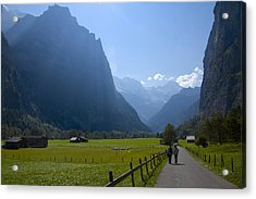 Swiss Hikers In Lauterbrunnen Switzerland Acrylic Print