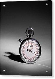 Swiss Made Stop Watch Acrylic Print by David and Carol Kelly