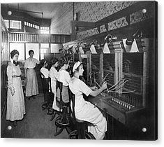 Switchboard Operators Acrylic Print by Underwood Archives