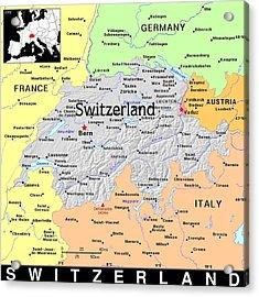 Switzerland Exotic Map Acrylic Print by Florene Welebny