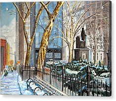 Sycamores Madison Square Park Acrylic Print by John W Walker