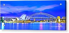 Sydney Harbour Blues Panorama Acrylic Print by Az Jackson