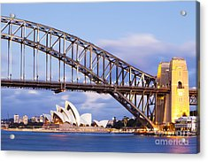 Sydney Harbour Bridge And Opera House Acrylic Print by Colin and Linda McKie