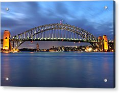 Acrylic Print featuring the photograph Sydney Harbour Bridge At Twilight by Photography  By Sai