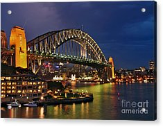 Sydney Harbour Bridge By Night Acrylic Print