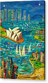 Acrylic Print featuring the painting Sydney Harbour by Lyn Olsen