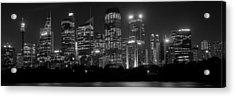 Sydney Skyline In Bw Acrylic Print