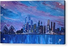 Sydney Skyline With Opera House At Dusk Acrylic Print by M Bleichner