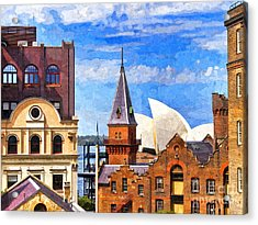 Sydney The Rocks And Opera House Acrylic Print by Colin and Linda McKie