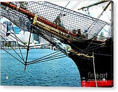 Sydney Through Bow Sprit Acrylic Print by John Potts
