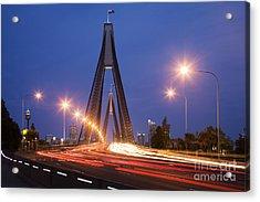 Sydney Traffic And Anzac Bridge At Twilight Acrylic Print by Colin and Linda McKie