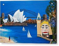 Sydneyscape - Featuring Luna Park  Acrylic Print by Lyndsey Hatchwell