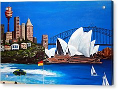 Sydneyscape - Featuring Opera House Acrylic Print by Lyndsey Hatchwell