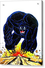 Acrylic Print featuring the drawing Symbiote Guy by Justin Moore