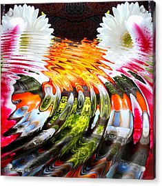 Symmetric Still Life. Flowers In The Water. 2013 80/80 Cm.  Acrylic Print by Tautvydas Davainis