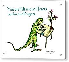 Sympathy Dinosaur Heart Felt Acrylic Print