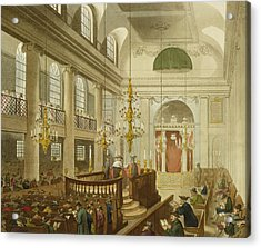 Synagogue At Dukes Place In Houndsditch Acrylic Print by Pugin And Rowlandson