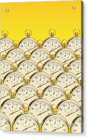 Synchronised Stopwatches Acrylic Print by David Parker