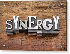 Synergy Word In Metal Type Acrylic Print by Marek Uliasz
