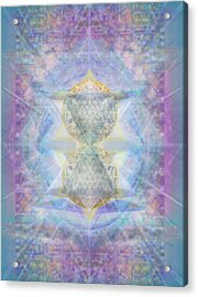 Synthecentered Doublestar Chalice In Blueaurayed Multivortexes On Tapestry Lg Acrylic Print by Christopher Pringer