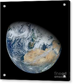 Synthesized View Of Earth Showing North Acrylic Print by Stocktrek Images