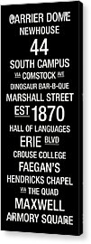Syracuse College Town Wall Art Acrylic Print by Replay Photos