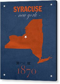Syracuse University New York Orange College Town State Map Poster Series No 102 Acrylic Print