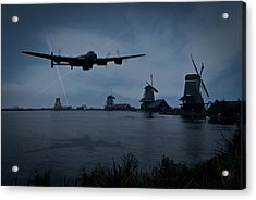 Dambusters Lancaster T For Tommy En Route To The Sorpe Acrylic Print by Gary Eason