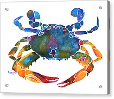 Acrylic Print featuring the painting Color Me Crab E  by Jo Lynch
