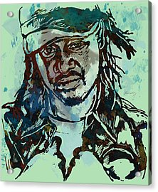 T-pain Faheem Rasheed Najm Stylised Etching Pop Art Poster Acrylic Print by Kim Wang