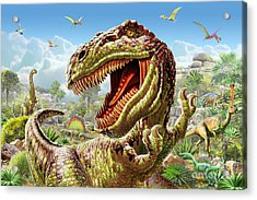 T-rex And Dinosaurs Acrylic Print by Adrian Chesterman