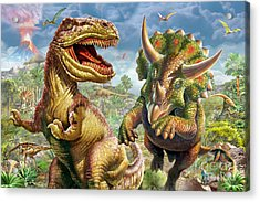 T-rex And Triceratops Acrylic Print by Adrian Chesterman