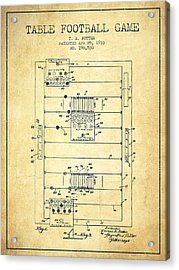 Table Football Game Patent From 1933 - Vintage Acrylic Print by Aged Pixel