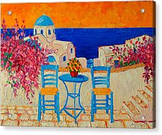 Table For Two In Santorini Greece Acrylic Print