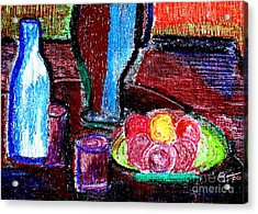 Acrylic Print featuring the pastel Table On Rue Cadet by Bill OConnor