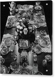 Table Settings On Dining Table Acrylic Print