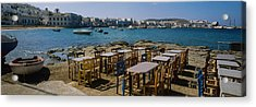 Tables And Chairs In A Cafe, Greece Acrylic Print by Panoramic Images